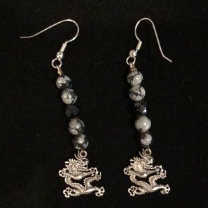 Vintage Silver 925 Dragon Earrings with Beads